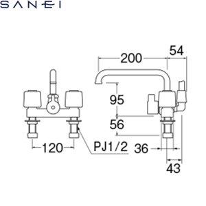 画像2: [SK710-W-13][SK710-LH-13後継品]三栄水栓[SANEI]ツーバルブデッキシャワー混合水栓[共用形][送料無料]